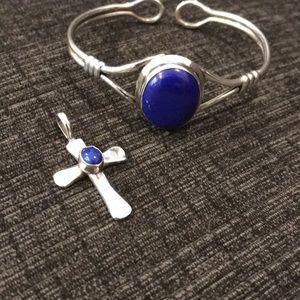 Handmade sterling pendant and bracelet set.